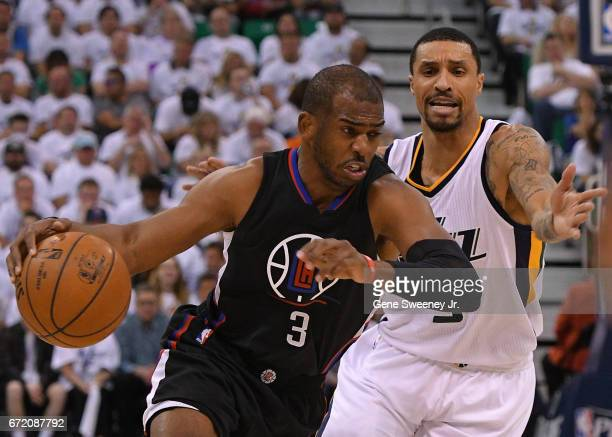 Chris Paul of the Los Angeles Clippers drives past George Hill of the Utah Jazz in the second half of the Clippers 10598 loss in Game Four of the...