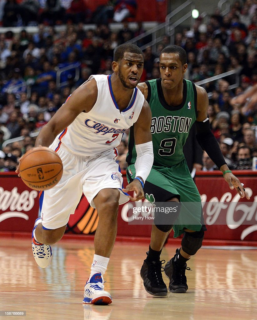 Chris Paul of the Los Angeles Clippers drives past Rajon Rondo of the Boston Celtics during a 10677 Clipper win for 15 straight wins at Staples...