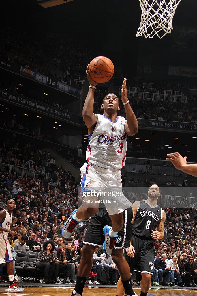Chris Paul #3 of the Los Angeles Clippers drives to the basket against the Brooklyn Nets on November 23, 2012 at the Barclays Center in the Brooklyn Borough of New York City.