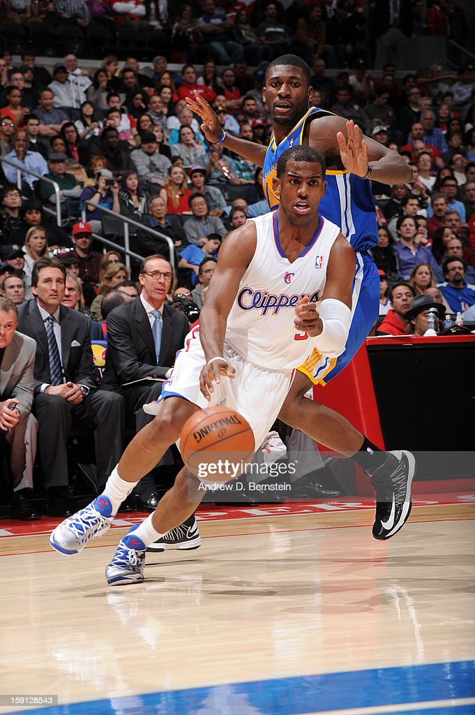 <a gi-track='captionPersonalityLinkClicked' href=/galleries/search?phrase=Chris+Paul&family=editorial&specificpeople=212762 ng-click='$event.stopPropagation()'>Chris Paul</a> #3 of the Los Angeles Clippers drives to the basket against the Golden State Warriors at Staples Center on January 5, 2013 in Los Angeles, California.