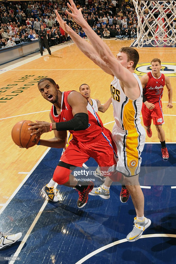 <a gi-track='captionPersonalityLinkClicked' href=/galleries/search?phrase=Chris+Paul&family=editorial&specificpeople=212762 ng-click='$event.stopPropagation()'>Chris Paul</a> #3 of the Los Angeles Clippers drives to the basket against the Indiana Pacers on February 28, 2013 at Bankers Life Fieldhouse in Indianapolis, Indiana.