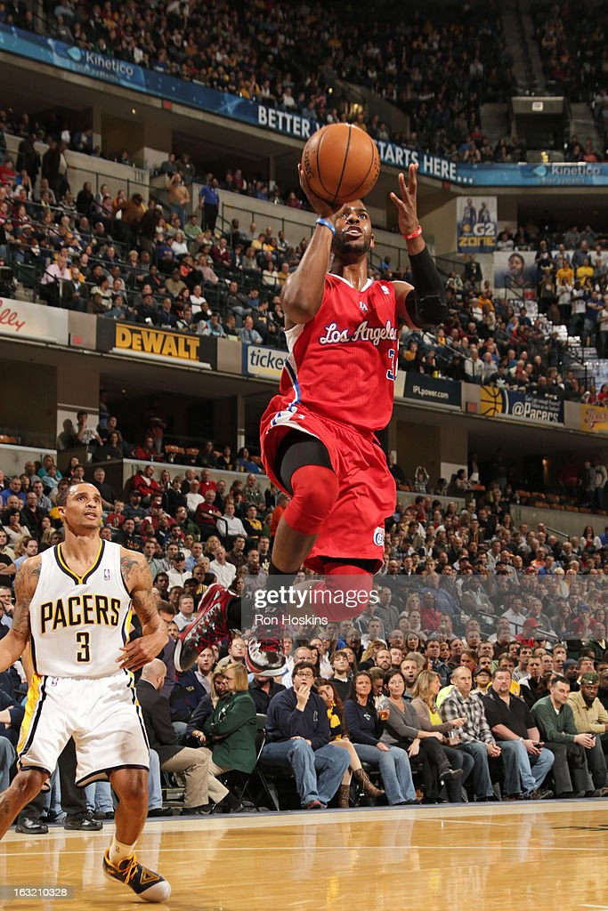 Chris Paul #3 of the Los Angeles Clippers drives to the basket against the Indiana Pacers on February 28, 2013 at Bankers Life Fieldhouse in Indianapolis, Indiana.