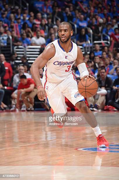 Chris Paul of the Los Angeles Clippers drives to the basket against the Houston Rockets in Game Six of the Western Conference Semifinals during the...