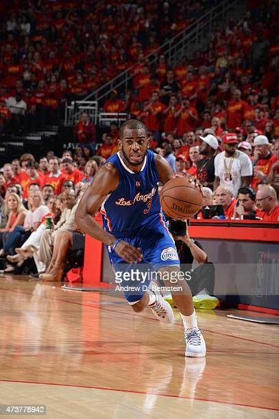 Chris Paul of the Los Angeles Clippers drives to the basket against the Houston Rockets in Game Seven of the Western Conference Semifinals during the...