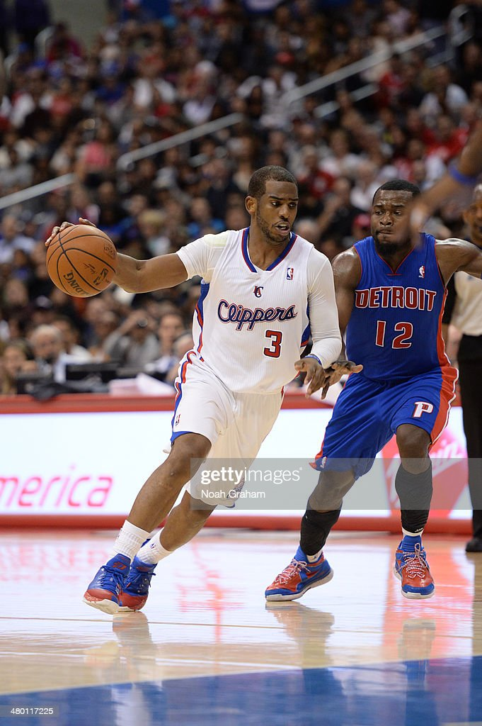 Chris Paul #3 of the Los Angeles Clippers drives to the basket against the Detroit Pistons at STAPLES Center on March 22, 2014 in Los Angeles, California.