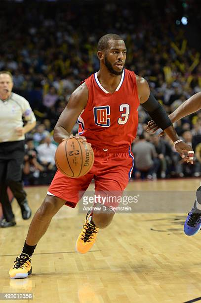 Chris Paul of the Los Angeles Clippers drives to the basket during a game against the Charlotte Hornets as part of the 2015 NBA Global Games China at...