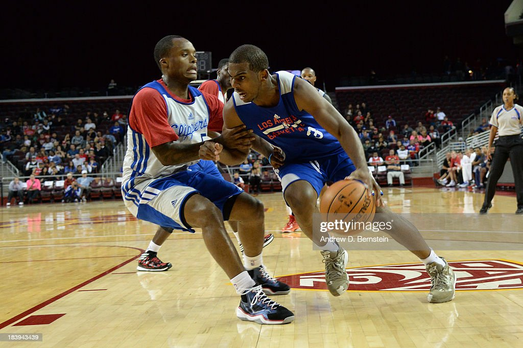 Chris Paul #3 of the Los Angeles Clippers drives to the basket during an open scrimmage at Galen Center on October 9, 2013 in Los Angeles, California.