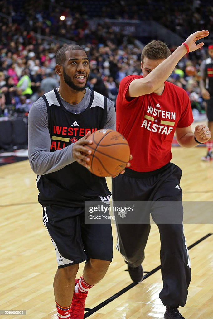 <a gi-track='captionPersonalityLinkClicked' href=/galleries/search?phrase=Chris+Paul&family=editorial&specificpeople=212762 ng-click='$event.stopPropagation()'>Chris Paul</a> #3 of the Los Angeles Clippers drives to the basket during the NBA All-Star Practice as part of 2016 All-Star Weekend at the Ricoh Coliseum on February 13, 2016 in Toronto, Ontario, Canada.