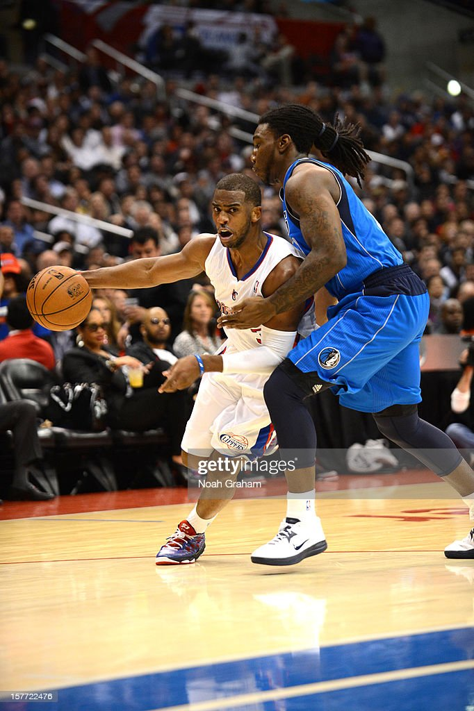 <a gi-track='captionPersonalityLinkClicked' href=/galleries/search?phrase=Chris+Paul&family=editorial&specificpeople=212762 ng-click='$event.stopPropagation()'>Chris Paul</a> #3 of the Los Angeles Clippers drives under pressure during the game between the Los Angeles Clippers and the Dallas Mavericks at Staples Center on December 5, 2012 in Los Angeles, California.
