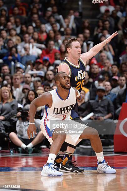 Chris Paul of the Los Angeles Clippers fights for position against Gordon Hayward of the Utah Jazz on November 25 2015 at STAPLES Center in Los...