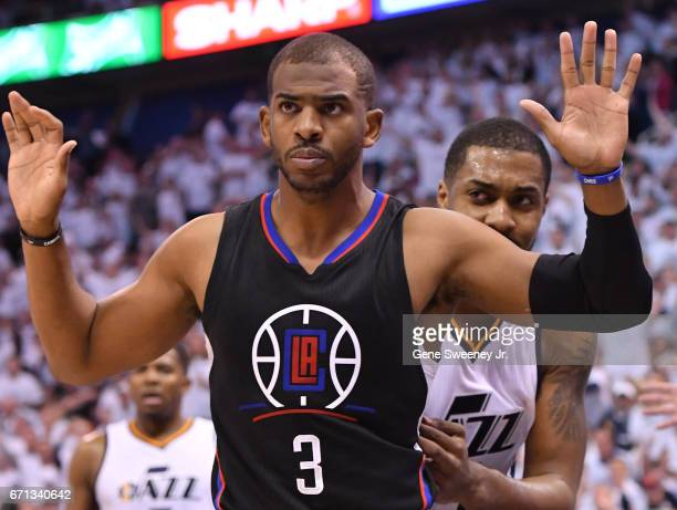 Chris Paul of the Los Angeles Clippers gestures in the second half of their 111106 victory over the Utah Jazz in Game Three of the Western Conference...