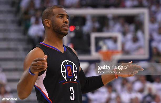 Chris Paul of the Los Angeles Clippers gestures towards an official during the first half against the Utah Jazz in Game Six of the Western Conference...
