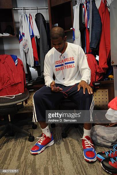 Chris Paul of the Los Angeles Clippers gets ready before the game against the Oklahoma City Thunder in Game Six of the Western Conference Semifinals...