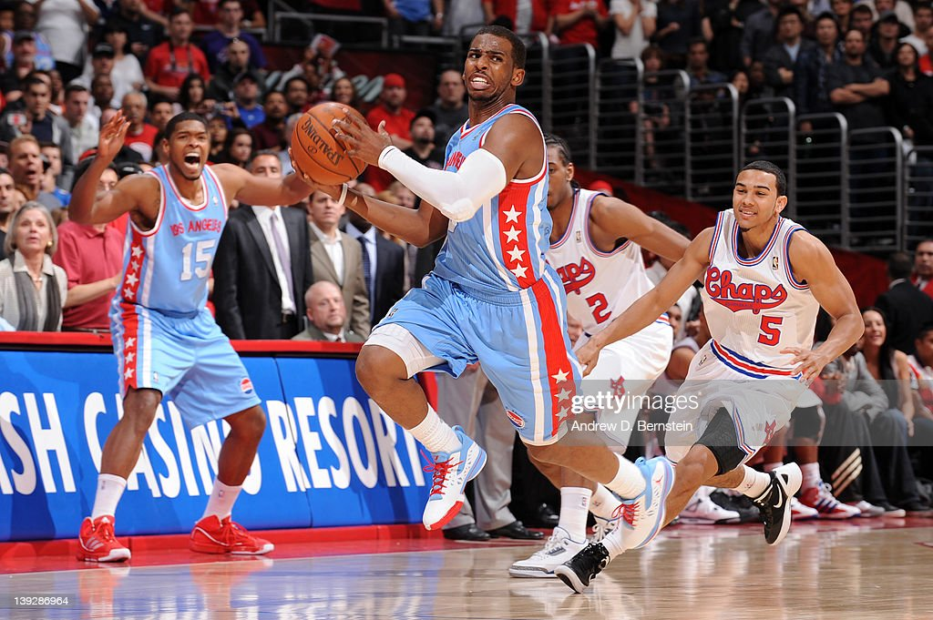 <a gi-track='captionPersonalityLinkClicked' href=/galleries/search?phrase=Chris+Paul&family=editorial&specificpeople=212762 ng-click='$event.stopPropagation()'>Chris Paul</a> #3 of the Los Angeles Clippers gets set to throw an errant pass during the game against the San Antonio Spurs at Staples Center on February 18, 2012 in Los Angeles, California.