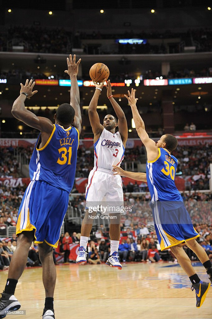 Chris Paul #3 of the Los Angeles Clippers goes for a jump shot during the game between the Los Angeles Clippers and the Golden State Warriors at Staples Center on November 3, 2012 in Los Angeles, California.