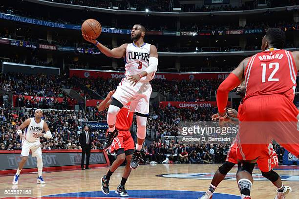 Chris Paul of the Los Angeles Clippers goes for the layup against the Houston Rockets during the game on January 18 2016 at STAPLES Center in Los...