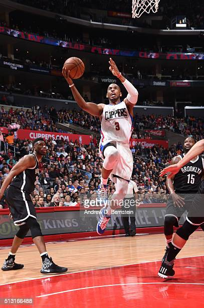 Chris Paul of the Los Angeles Clippers goes for the layup against the Brooklyn Nets during the game on February 29 2016 at Staples Center in Los...