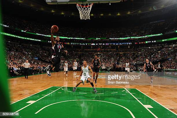 Chris Paul of the Los Angeles Clippers goes to the basket against the Boston Celtics on February 10 2016 at the TD Garden in Boston Massachusetts...