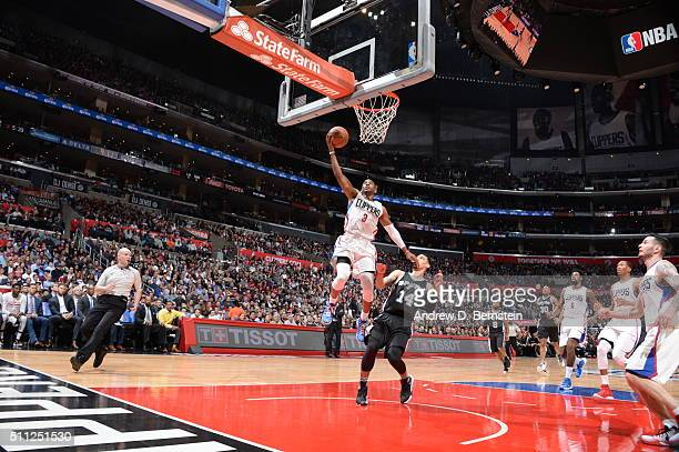 Chris Paul of the Los Angeles Clippers goes to the basket against the San Antonio Spurs on February 18 2016 at STAPLES Center in Los Angeles...
