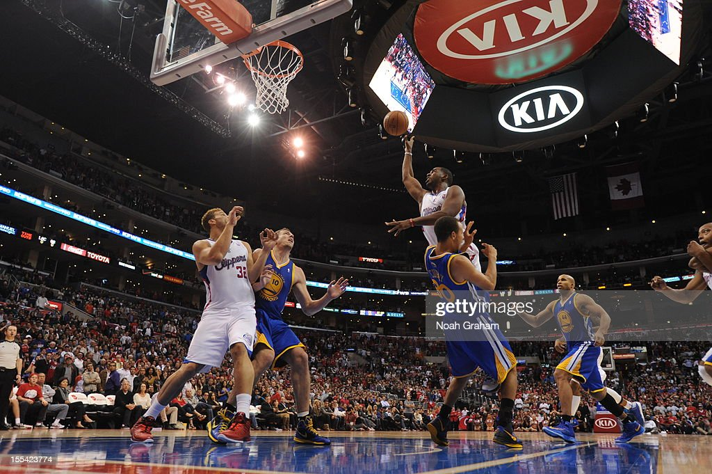 Chris Paul #3 of the Los Angeles Clippers goes to the basket during the game between the Los Angeles Clippers and the Golden State Warriors at Staples Center on November 3, 2012 in Los Angeles, California.