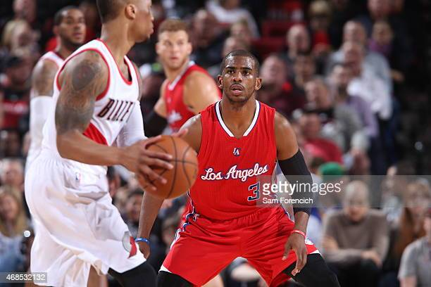 Chris Paul of the Los Angeles Clippers guards his position against the Los Angeles Clippers on April 1 2015 at the Moda Center Arena in Portland...