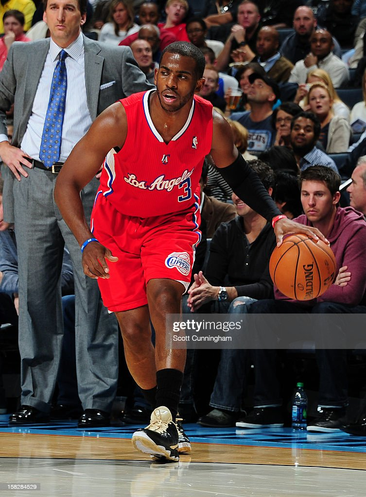Chris Paul #3 of the Los Angeles Clippers handles the ball against the Charlotte Bobcats at Time Warner Cable Arena on December 12, 2012 in Charlotte, North Carolina.