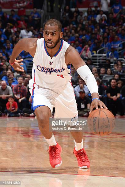 Chris Paul of the Los Angeles Clippers handles the ball against the Houston Rockets in Game Six of the Western Conference Semifinals during the 2015...