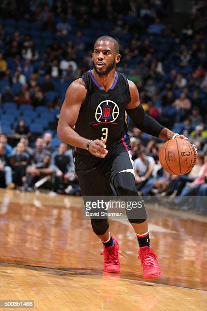 Chris Paul of the Los Angeles Clippers handles the ball against the Minnesota Timberwolves on December 7 2015 at Target Center in Minneapolis...