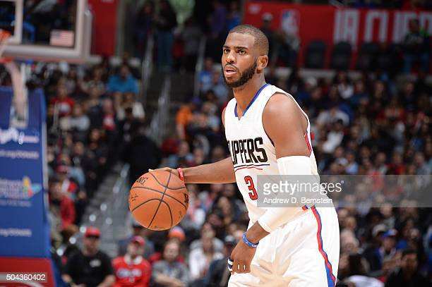 Chris Paul of the Los Angeles Clippers handles the ball against the New Orleans Pelicans on January 10 2016 at STAPLES Center in Los Angeles...