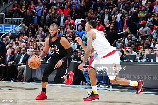 Chris Paul of the Los Angeles Clippers handles the ball against the Atlanta Hawks on January 27 2016 at Philips Arena in Atlanta Georgia NOTE TO USER...