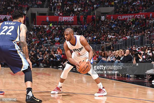 Chris Paul of the Los Angeles Clippers handles the ball against the Memphis Grizzlies on April 12 2016 at STAPLES Center in Los Angeles California...