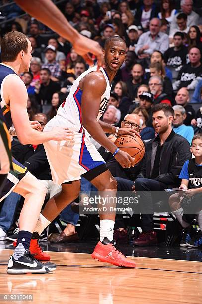 Chris Paul of the Los Angeles Clippers handles the ball against the Utah Jazz on October 30 2016 at STAPLES Center in Los Angeles California NOTE TO...