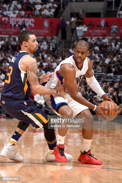 Chris Paul of the Los Angeles Clippers handles the ball against the Utah Jazz in Game One of Round One during the 2017 NBA Playoffs on April 15 2017...