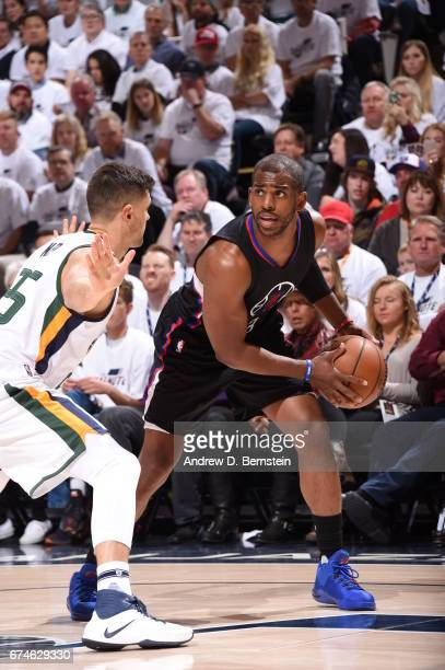 Chris Paul of the Los Angeles Clippers handles the ball against the Utah Jazz during Game Six of the Western Conference Quarterfinals of the 2017 NBA...