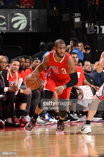 Chris Paul of the Los Angeles Clippers handles the ball during the game against the Toronto Raptors on January 24 2016 at the Air Canada Centre in...