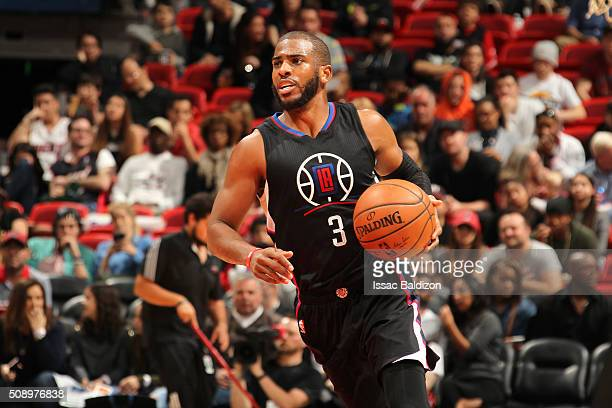 Chris Paul of the Los Angeles Clippers handles the ball during the game against the Miami Heat on February 7 2016 at AmericanAirlines Arena in Miami...