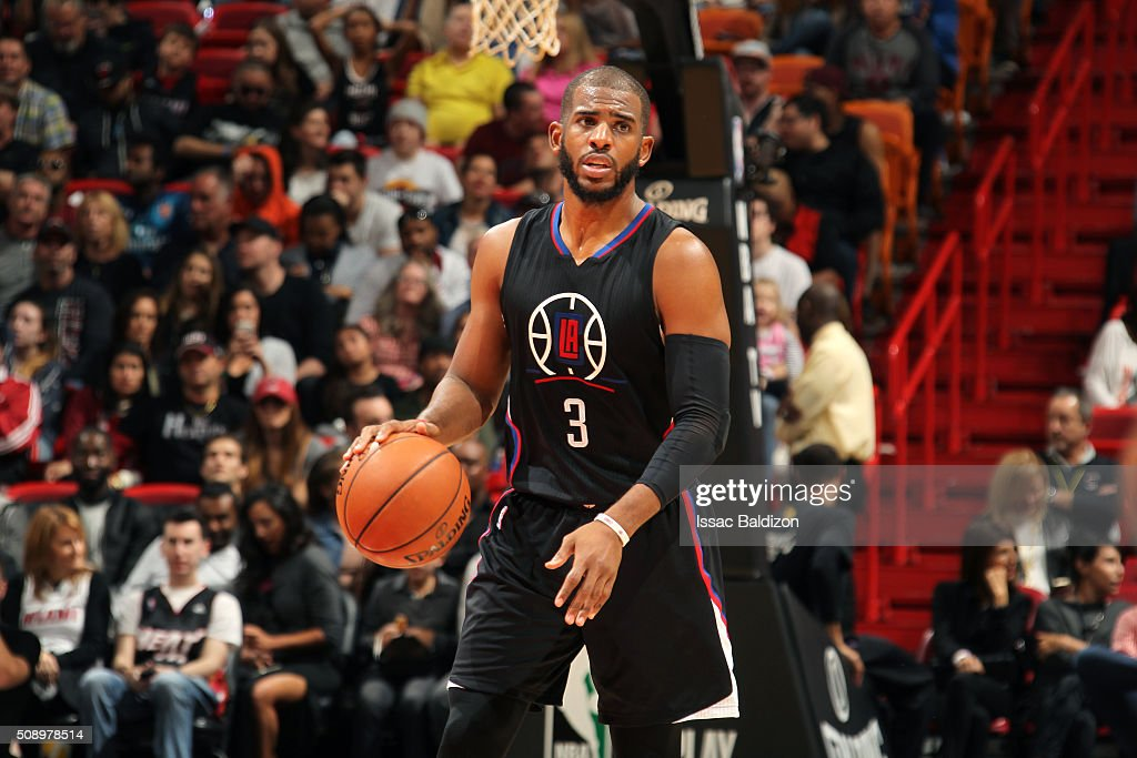 <a gi-track='captionPersonalityLinkClicked' href=/galleries/search?phrase=Chris+Paul&family=editorial&specificpeople=212762 ng-click='$event.stopPropagation()'>Chris Paul</a> #3 of the Los Angeles Clippers handles the ball during the game against the Miami Heat on February 7, 2016 at AmericanAirlines Arena in Miami, Florida.