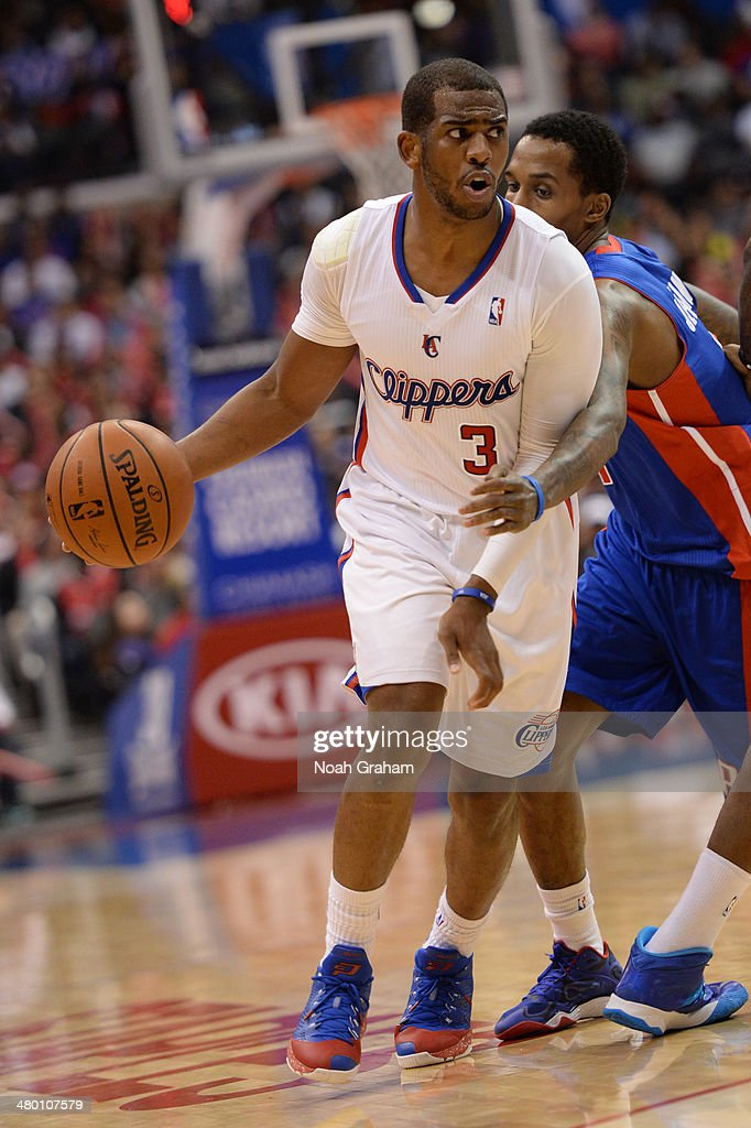 Chris Paul #3 of the Los Angeles Clippers handles the basketball during a game against the Detroit Pistons at STAPLES Center on March 22, 2014 in Los Angeles, California.