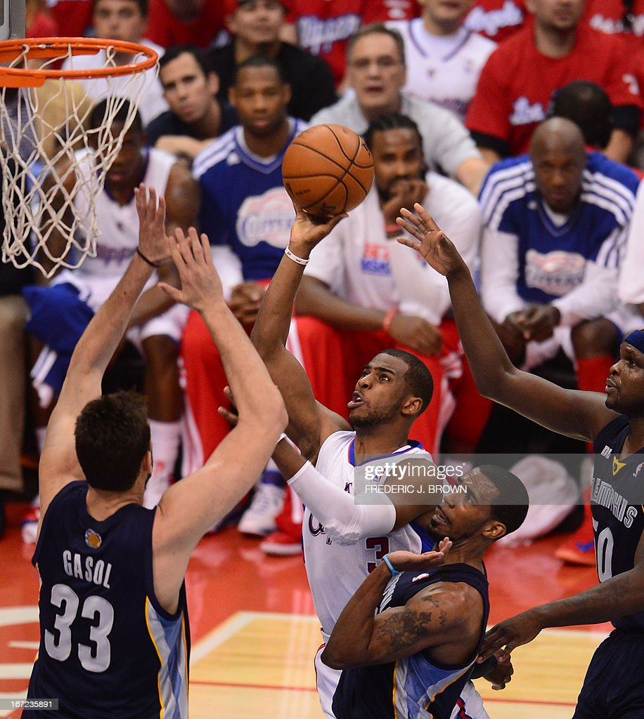 Chris Paul (C) of the Los Angeles Clippers heads to the basket against Marc Gasol (L) of the Memphis Grizzlies during game two of their NBA Basketball playoff series at Staples Center in Los Angeles, California on April 22, 2013. AFP PHOTO / Frederic J. BROWN