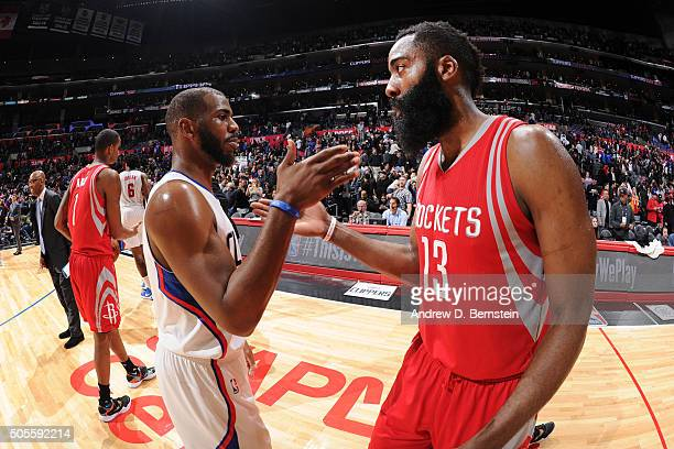Chris Paul of the Los Angeles Clippers high fives James Harden of the Houston Rockets during the game on January 18 2016 at STAPLES Center in Los...