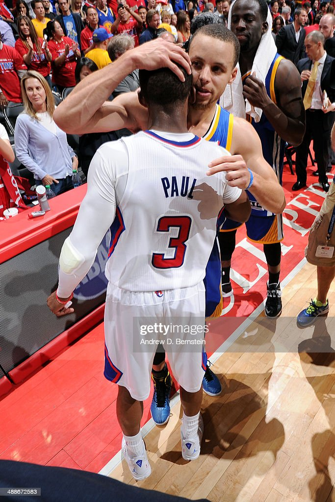 <a gi-track='captionPersonalityLinkClicked' href=/galleries/search?phrase=Chris+Paul&family=editorial&specificpeople=212762 ng-click='$event.stopPropagation()'>Chris Paul</a> #3 of the Los Angeles Clippers hugs <a gi-track='captionPersonalityLinkClicked' href=/galleries/search?phrase=Stephen+Curry+-+Basketball+Player&family=editorial&specificpeople=5040623 ng-click='$event.stopPropagation()'>Stephen Curry</a> #30 of the Golden State Warriors after a match in Game Seven of the Western Conference Quarterfinals during the 2014 NBA Playoffs at Staples Center on May 3, 2014 in Los Angeles, California.