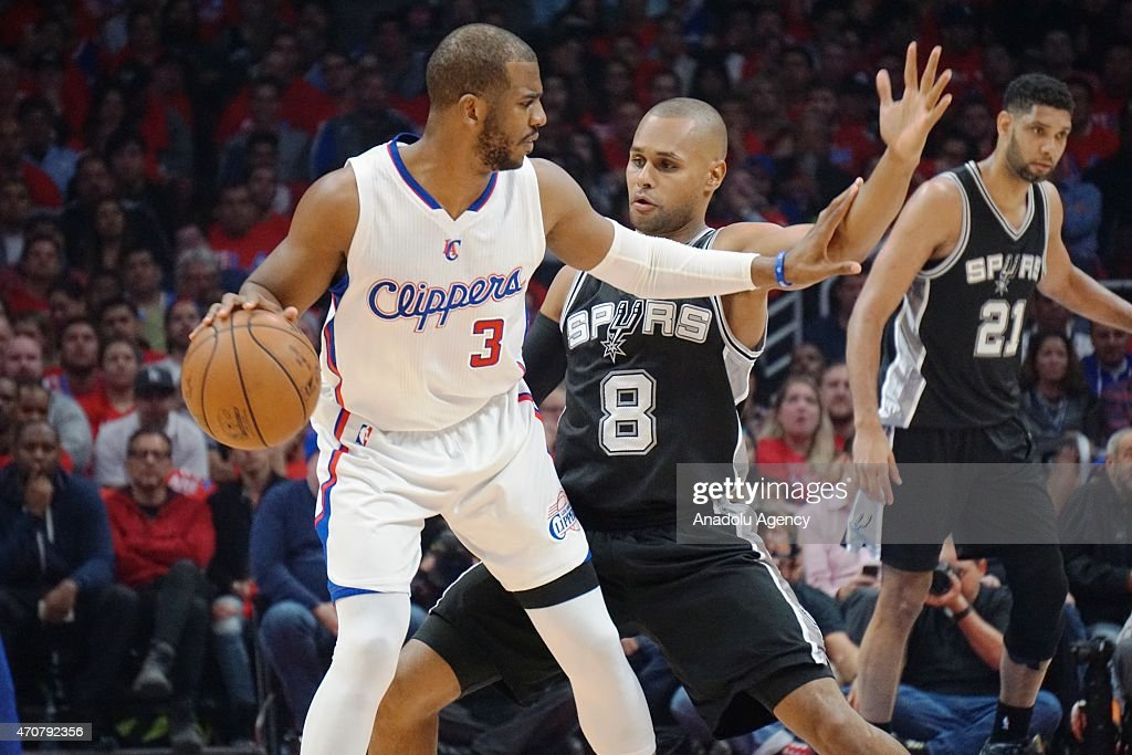 Chris Paul (3) of the Los Angeles Clippers in action against Patty Mills (8) of the San Antonio Spurs during the first round of the 2015 NBA Western Conference Playoffs game at Staples Center in Los Angeles, California, USA on April 22, 2015.