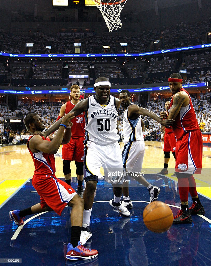 Chris Paul of the Los Angeles Clippers is called for a foul against Zach Randolph of the Memphis Grizzlies in Game Seven of the Western Conference...