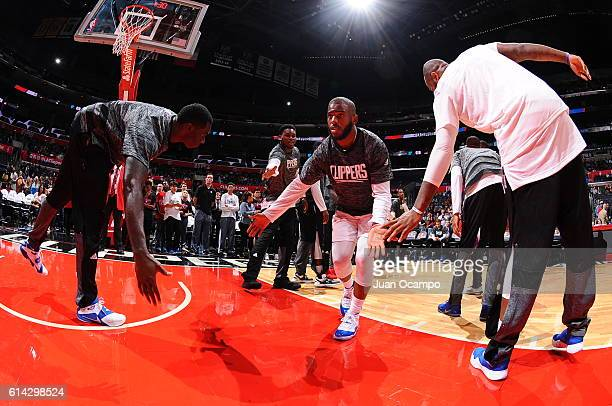 Chris Paul of the Los Angeles Clippers is intrroduced before the game against the Utah Jazz during a preseason game on October 10 2016 at STAPLES...