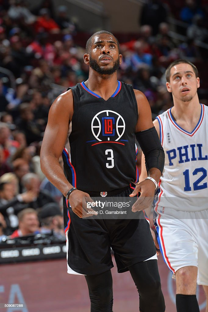 <a gi-track='captionPersonalityLinkClicked' href=/galleries/search?phrase=Chris+Paul&family=editorial&specificpeople=212762 ng-click='$event.stopPropagation()'>Chris Paul</a> #3 of the Los Angeles Clippers looks on against the Philadelphia 76ers at Wells Fargo Center on February 8, 2016 in Philadelphia, Pennsylvania