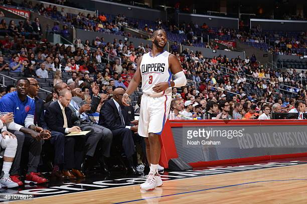 Chris Paul of the Los Angeles Clippers looks on against the Denver Nuggets during a preseason game on October 2 2015 at STAPLES Center in Los Angeles...