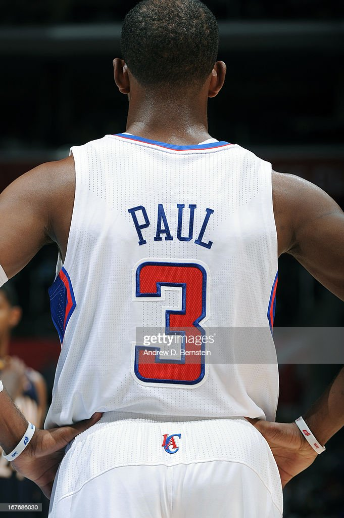 <a gi-track='captionPersonalityLinkClicked' href=/galleries/search?phrase=Chris+Paul&family=editorial&specificpeople=212762 ng-click='$event.stopPropagation()'>Chris Paul</a> #3 of the Los Angeles Clippers looks on during the game against the Indiana Pacers at Staples Center on April 1, 2013 in Los Angeles, California.