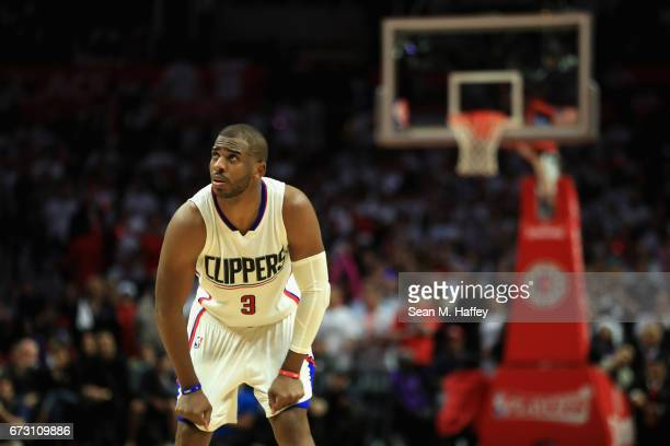 Chris Paul of the Los Angeles Clippers looks on during the second half of Game Five of the Western Conference Quarterfinals against the Utah Jazz at...