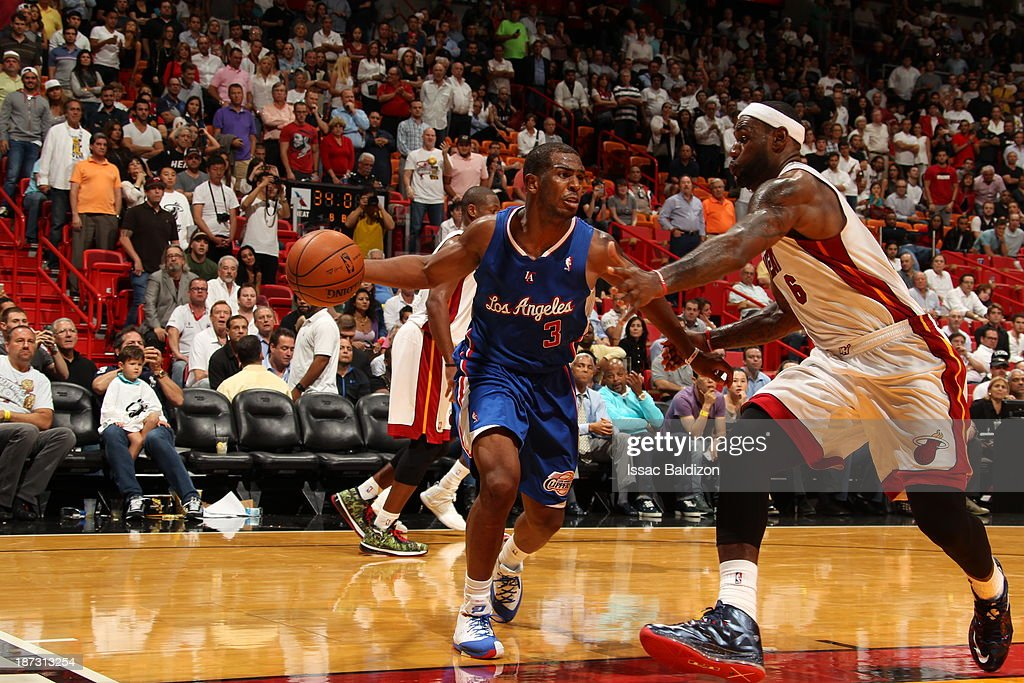 <a gi-track='captionPersonalityLinkClicked' href=/galleries/search?phrase=Chris+Paul&family=editorial&specificpeople=212762 ng-click='$event.stopPropagation()'>Chris Paul</a> #3 of the Los Angeles Clippers looks to pass the ball against the Miami Heat on November 7, 2013 at American Airlines Arena in Miami, Florida.