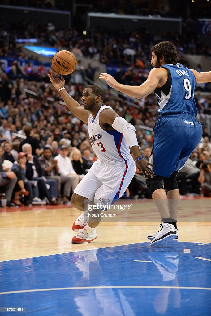 <a gi-track='captionPersonalityLinkClicked' href=/galleries/search?phrase=Chris+Paul&family=editorial&specificpeople=212762 ng-click='$event.stopPropagation()'>Chris Paul</a> #3 of the Los Angeles Clippers loses the ball against <a gi-track='captionPersonalityLinkClicked' href=/galleries/search?phrase=Ricky+Rubio&family=editorial&specificpeople=4028920 ng-click='$event.stopPropagation()'>Ricky Rubio</a> #9 of the Minnesota Timberwolves at Staples Center on November 11, 2013 in Los Angeles, California.